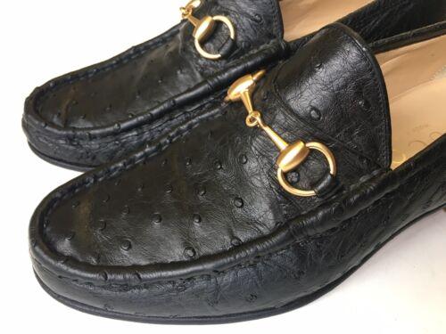 GUCCI Horsebit Black Ostrich Leather TOM FORD era