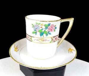 NIPPON-MORIMURA-JAPAN-ANTIQUE-GOLD-SWALLOWS-2-5-8-034-CHOCOLATE-CUP-amp-SAUCER-1911