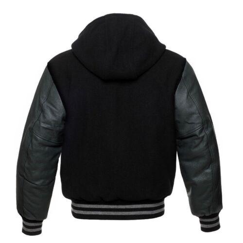 Black Wool Varsity Letterman Hooded Jacket Dark Grey Real Leather Sleeves Hoodie