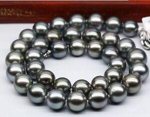 Tahitian-genuine-natural-black-pearl-necklace-20-huge-12-14mm-round