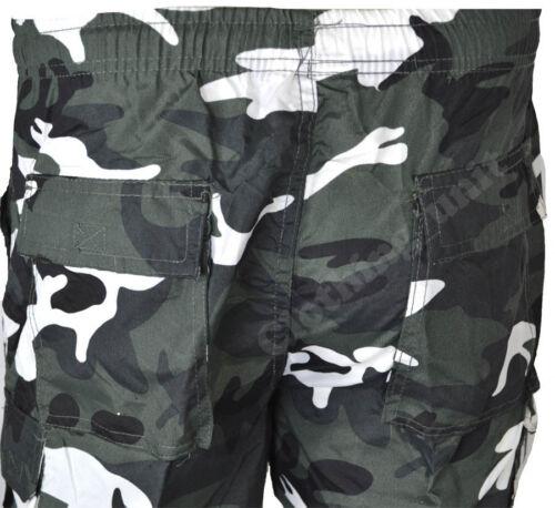 S05 Mens 3//4 Elasticated Waist  Long Zip off  Shorts Cargo Combat 7 Pockets Camo