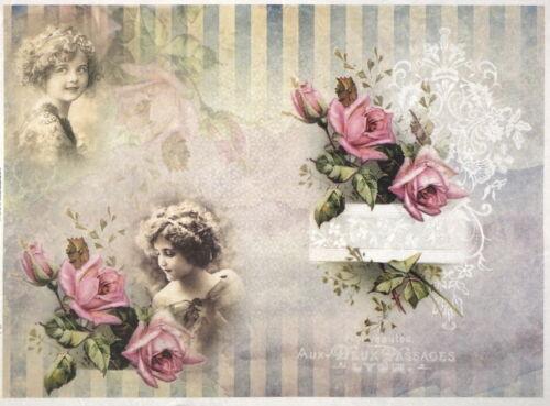 Papel De Arroz Para Decoupage Scrapbook Hoja Niñas Con Rosas