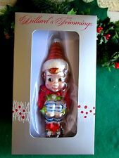 DILLARD'S DEPT STORE BLOWN GLASS ELF/PIXIE KNEEHUGGER CHRISTMAS ORNAMENT NIB