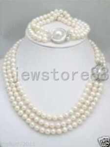 triple-strands-South-Sea-White-Pearl-Necklace-Bracelet-set-Mabe-Clasp
