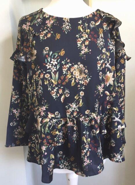 d78c1f68757eaf VIOLETA BY MANGO Blue Ruffle Blouse Size 18 Floral Bird Print 3 4 Slvs Silky