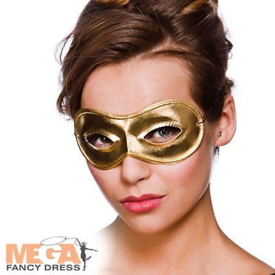 Buono Oro Metallizzato Maschera Occhi Costume Ballo In Maschera Donna Adulto Costume Accessorio-mostra Il Titolo Originale