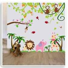 Animal Wall Stickers Monkey Lion Jungle Zoo Elephant Nursery Baby Room Decals