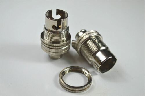 2 NICKEL SMALL BAYONET B15 FITTING BULB HOLDER LAMP HOLDER SHADE RING 10MM L6