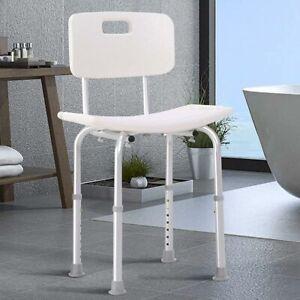 Sedile da doccia con Schienale Altezza Regolabile Sedia Sgabello vasca Anziani
