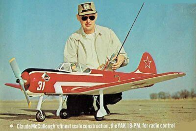 """Model Airplane Plans (RC): YAK-18PM or P 1/6+ Scale 72"""" .60 by Claude McCullough"""