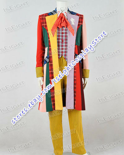 Doctor Brown Who 6th Sixth Dr Colorful Lattice Stripe Cosplay Costume Coat Party