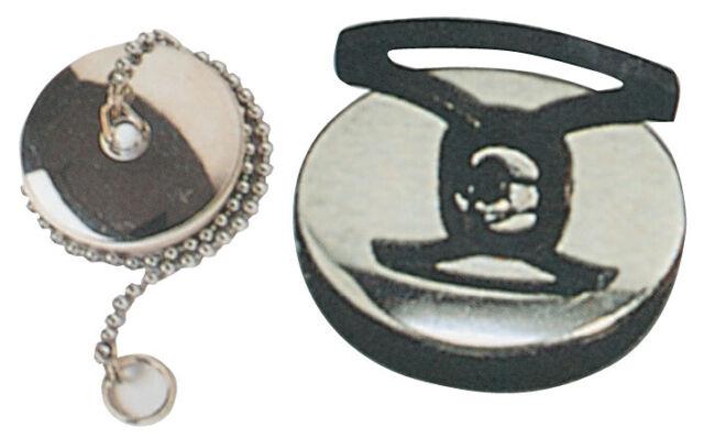 tappo per sanitari con placca acciaio inox  e catena Ø mm 47 per lavello lavabo