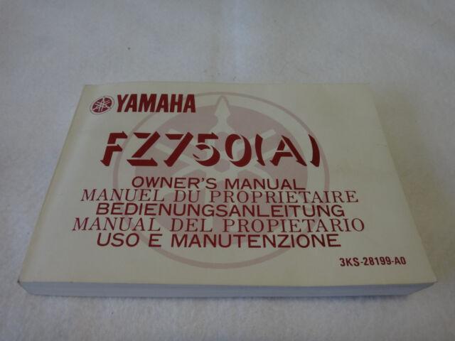 1990 Yamaha Fz 750 Owners Manual