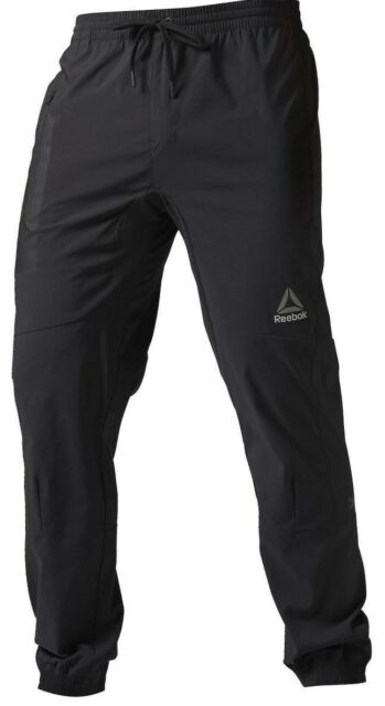 9230632610ad Men s Reebok Elite Woven Running Active Jogger Pants Black XL 2xl ...