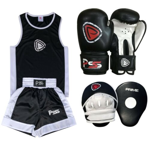 Kids Uniform Boxing SET 3 Pieces With Boxing Gloves Focus Pads Black 3-14 Years