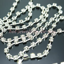 x 1m 2m 5m 4mm ss16 Crystal Diamante Rhinestone Silver Cup Chain Trimming