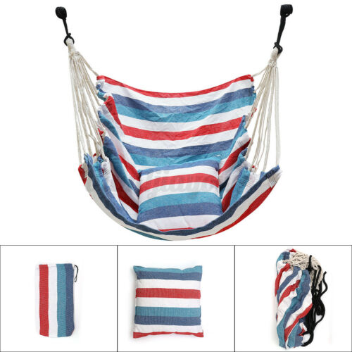 Hanging Hammock Chair Swing Indoor Outdoor Garden Yard Soft Seat With 2 Pillows