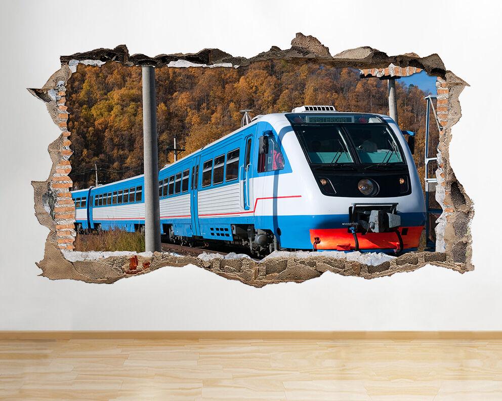 S251 Train Campagne blue Ciel fracassé Autocollant Mural 3D