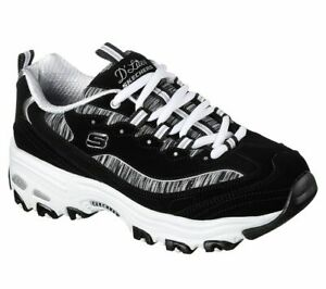 Details about Black White Dlites Skechers Shoes Women Sporty Casual 11978 BKW Memory Foam Soft