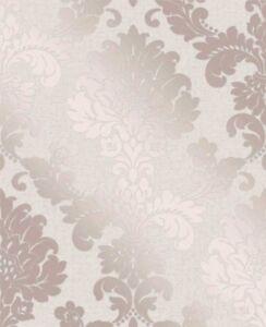 Fine decor luxury quartz rose gold damask glitter for Cheap designer wallpaper sale