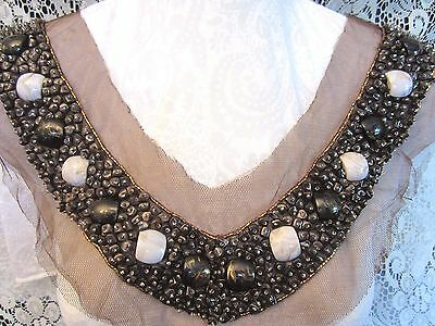 "15"" COPPER BEAD & STONE NECKLINE APPLIQUE  **VERY NICE**"