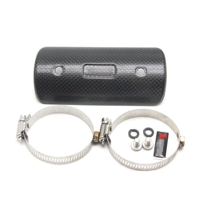 Carbon Fiber Motorcycle Exhaust Pipe Heat Shield Guard Universal Clamp-on  Cover