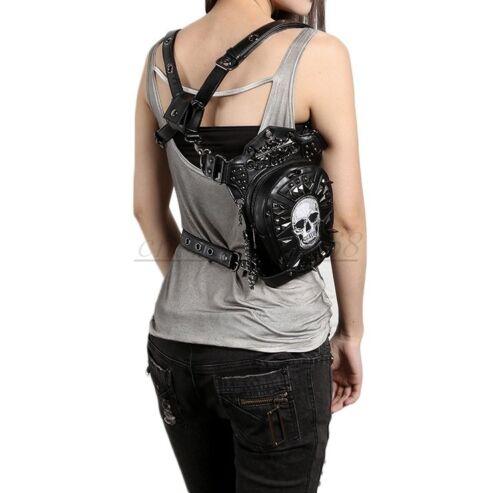 White Skull PU Leather Vintage Gothic Steampunk Shoulder Waist Leg Bag Newest
