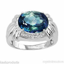 Large Oval Mystic Blue Topaz and Diamond Ring set in 14K White Gold