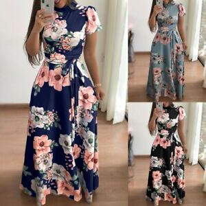 Women's Boho Floral Strappy Maxi Dress Lady Summer Holiday Party Evening Dresses