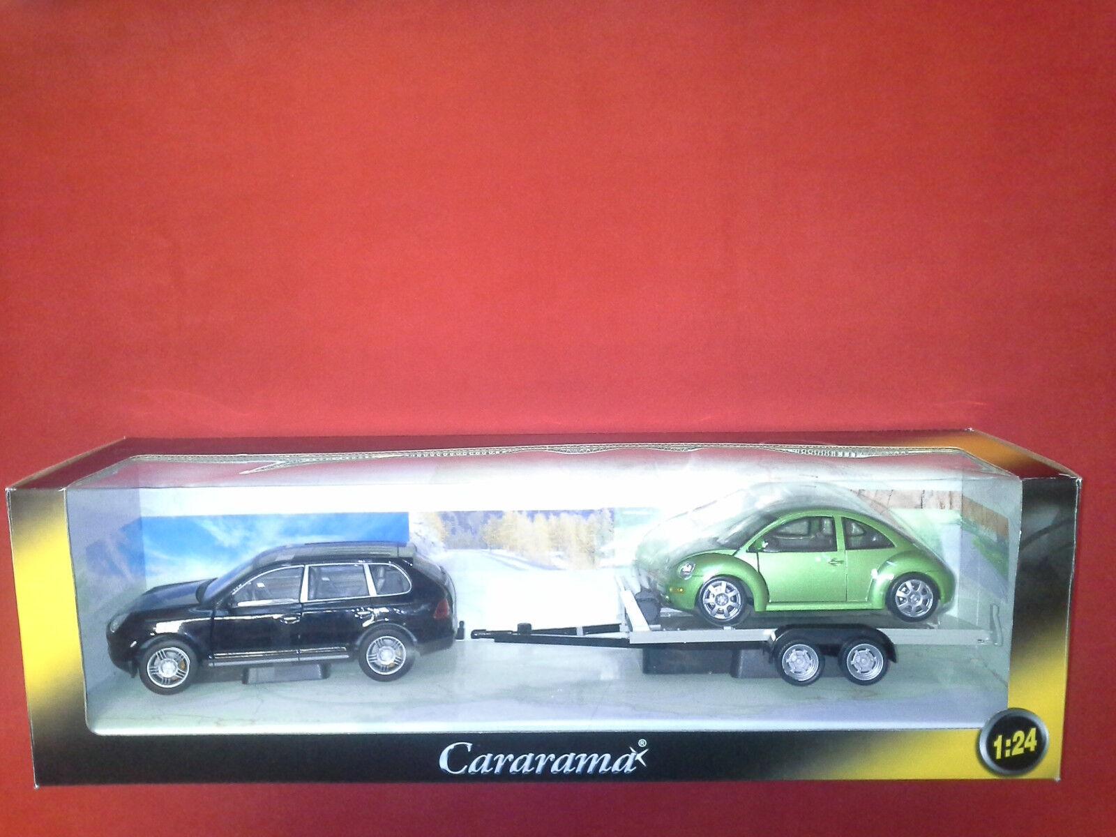 PORSCHE CAYENNE & VW BEETLE  1 24 CARARAMA. NEW IN BOX.