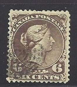 Canada-Scott-27-6C-Dark-Brown-VF-used-ring-cancel-Cats-200-LOOK