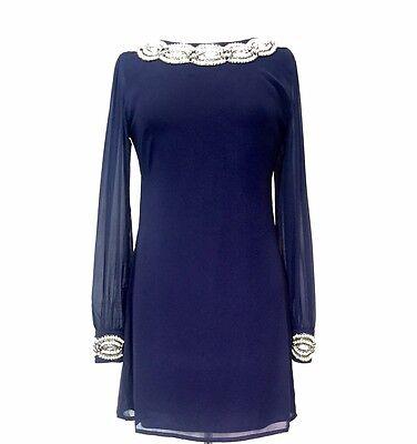 BNWT Ladies BLUE Dress Tunic Top Evening 1970's Shift Dress Size 8 10 12 14 16