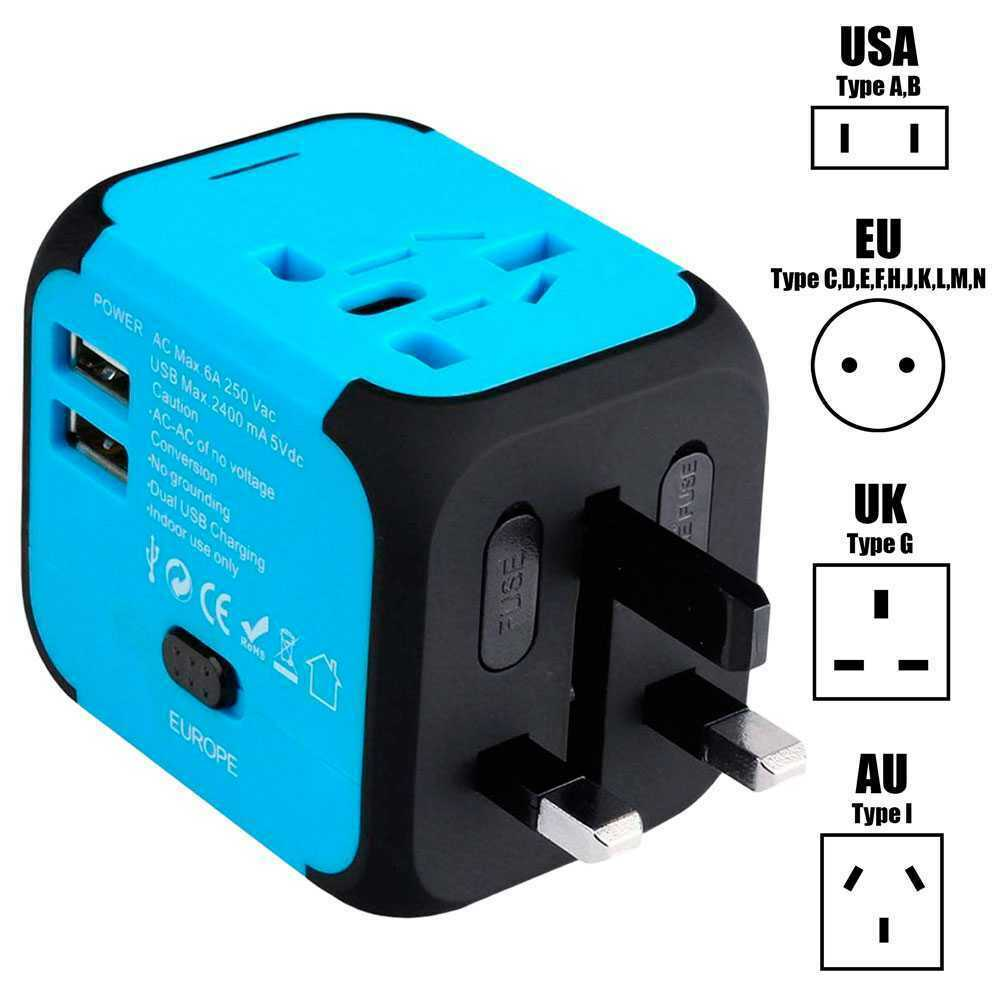 Adaptador de Viaje Multi Nación con Cargador USB 2 Puertos 150 Paises UK EU Azul