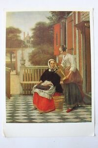 Vintage Russian Postcard Pieter De Hooch Mistress And Her Maid