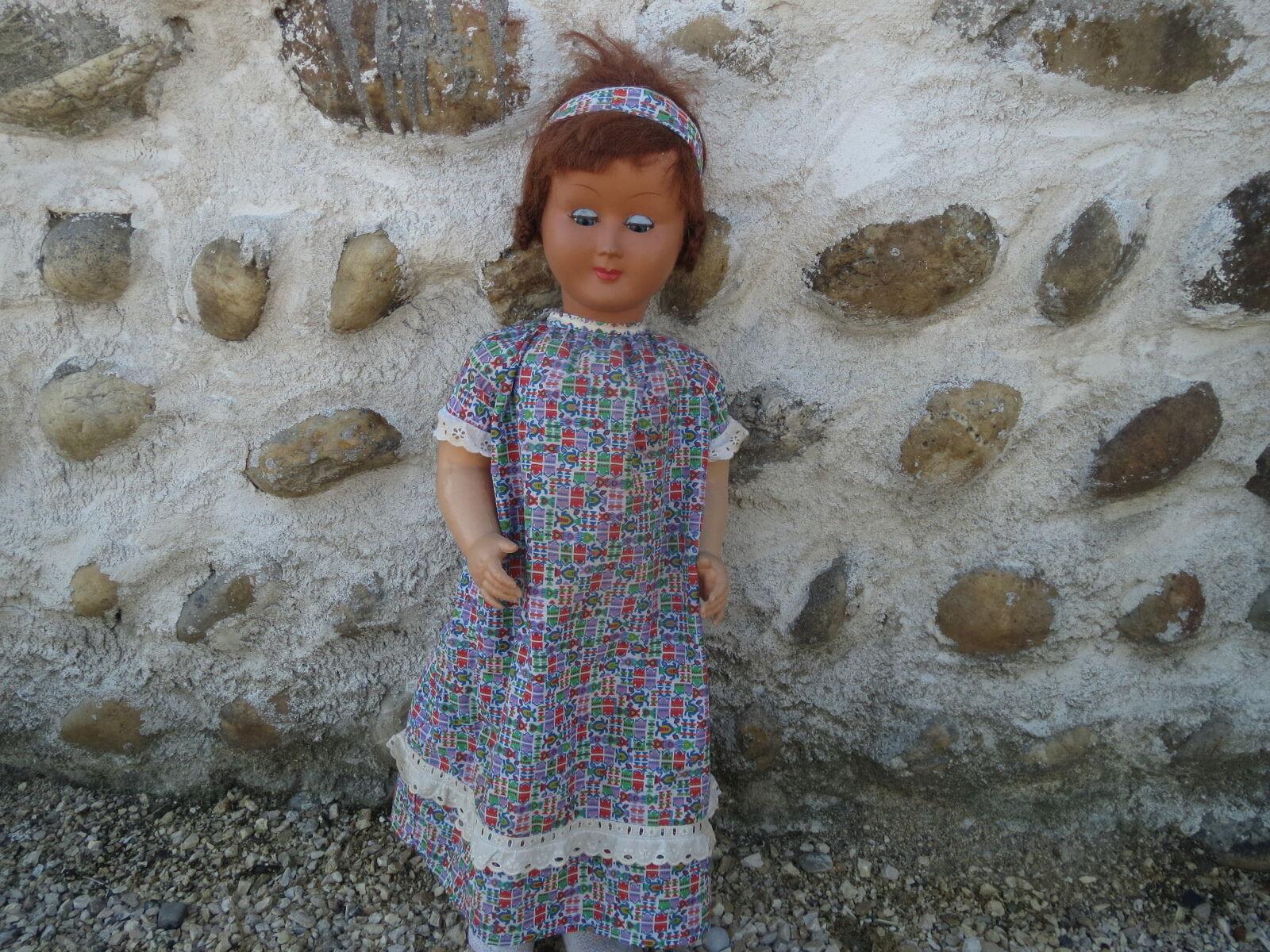 Ancienne grande poupée plastique jouet collection antique doll