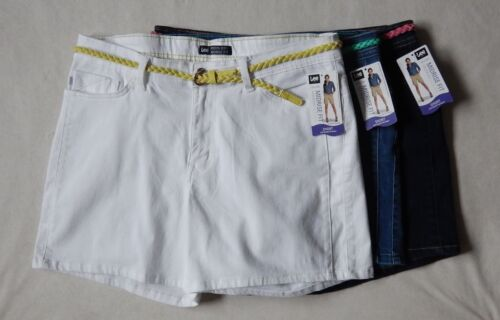 NEW Lee Midrise Fit Modern Series Womens White Blue Denim Belted Shorts 4-18
