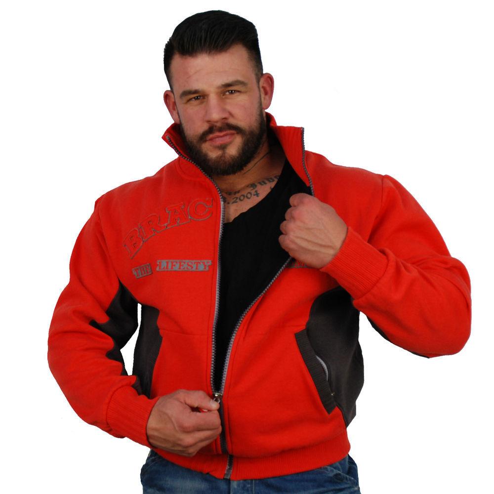 Brachial Zip-Sweater Original Rot Schwarz schwarz rot Bodybuilding Fitness