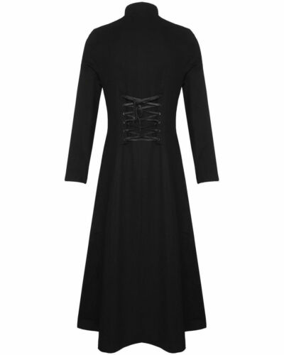 Men/'s Steampunk Military TRENCH COAT Long Jacket Black Gothic VTG//USA Sizes