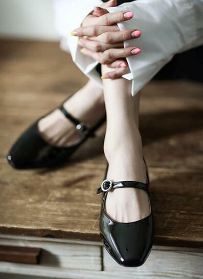 Womens Retro Patent Leather Square Toe Buckle Strap Mary Jane Shoes Heels E965