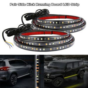 2x-24-034-White-Amber-Running-Board-Side-Step-LED-Light-Strip-Turn-Signal-DRL-Bar