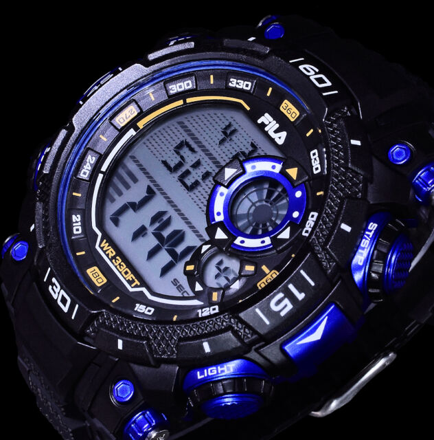 Fila Herrenuhr Armbanduhr Digital Uhr Stoppuhr Schwarz Blau Chronograph 10 Atm