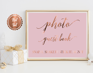 Photo guest book sign real copper foil print wedding decor signage guestbook