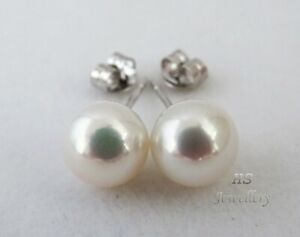 HS 9mm Japanese Akoya Cultured Pearl Stud Earrings 18ct White Gold Top Grading