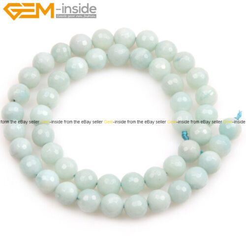 """Natural Round Faceted Mixed Color Amazonite Loose Beads For Jewelry Making 15/"""""""
