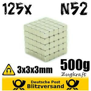 125x-Neodym-Magnet-Wuerfel-3x3x3mm-Whiteboard-Magnete-Magnetic-Magneten-basteln