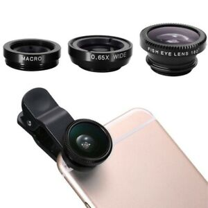 Universal 3in1 Clip On Camera Lens Kit Fisheye Wide Angle Macro For Cell Phone