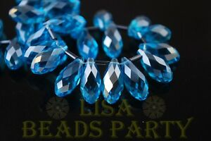 New-10pcs-16x8mm-Teardrop-Faceted-Glass-Pendant-Loose-Spacer-Beads-Lake-Blue-AB