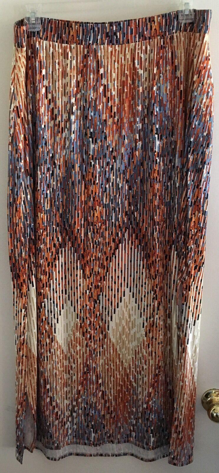 Lane Bryant Plus Sz 18 20 Abstract double slit, multi-color maxi skirt EUC