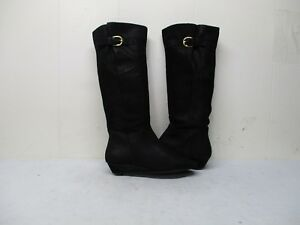 cd7e4082f41 Steven By Steve Madden Intyce Black Leather Wedge Knee High Boots ...