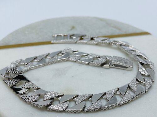 "SOLID 925 Sterling Silver 8MM Mens Cast Ribbed Edge Curb Link Bracelet 8.5/"""